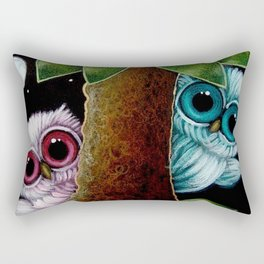 2 TINY OWLS BEHIND THE TREE PLAYING WITH YOU Rectangular Pillow