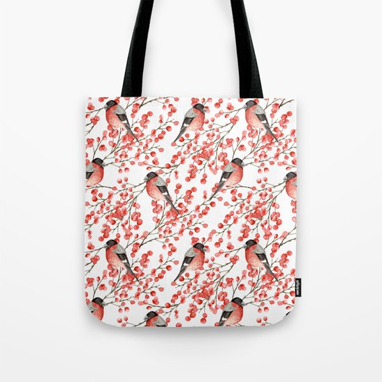 Bullfinch and red berries Tote Bag