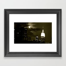 NYC under the moon Framed Art Print