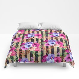 Fragrant Floral Bouquets on Striped Pattern Comforters