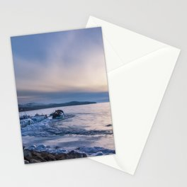 Abandoned ship at frozen wharf Stationery Cards