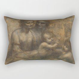 The Virgin and Child with St Anne and St John the Baptist by Leonardo da Vinci Rectangular Pillow
