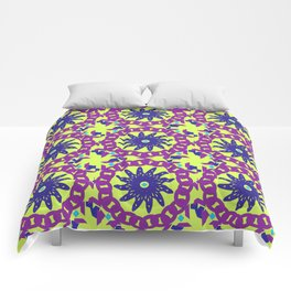 Chained Link Purple Spiral Flowers Comforters