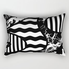 Curvy Contrast - Black and white stripes, waves, marble and paint splats abstract artwork Rectangular Pillow