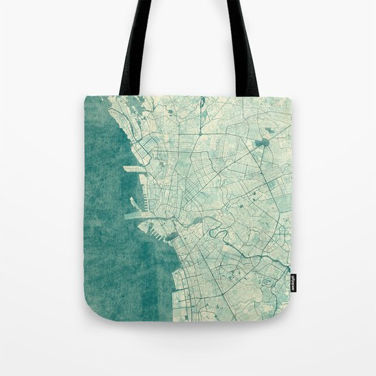 Manila Map Blue Vintage Tote Bag