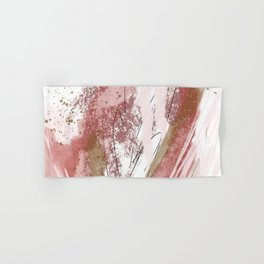 Sugar and Spice: a minimal, abstract mixed-media piece in pink and brown by Alyssa Hamilton Art Hand & Bath Towel