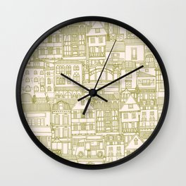 cafe buildings olive Wall Clock