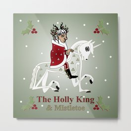 The Holly King and his steed Mistletoe Metal Print