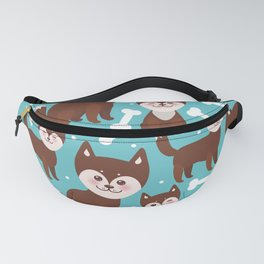 funny brown husky dog and white bones, Kawaii face with large eyes and pink cheeks blue background Fanny Pack