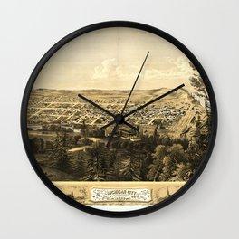 Bird's Eye View of Michigan City, Indiana (1869) Wall Clock