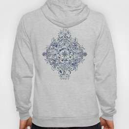 Floral Diamond Doodle in Dark Blue and Cream Hoody