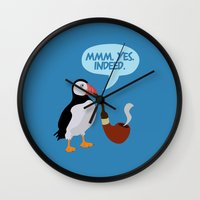 puffin Wall Clocks featuring puffin' by Christopher