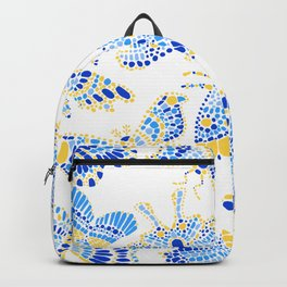 Butterfly Pattern Blue Gold White Backpack