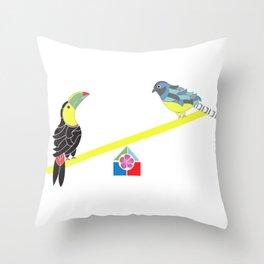Birds on a seesaw Throw Pillow