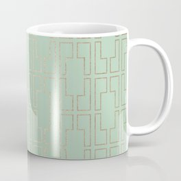 Simply Mid-Century in White Gold Sands and Pastel Cactus Green Coffee Mug
