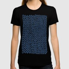 Hand Knit Navy X-LARGE Womens Fitted Tee Black
