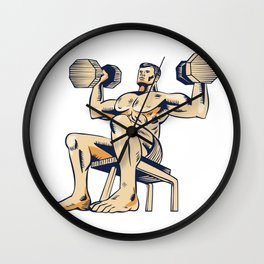 High Intensity Interval Training Dumbbell Etching Wall Clock