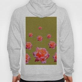 RAINING ANTIQUE PINK ROSE FLOWERS AVOCADO COLOR Hoody