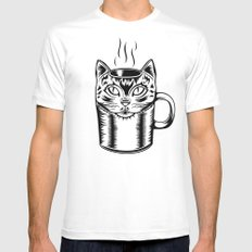 Coffee Cat MEDIUM Mens Fitted Tee White
