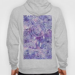 Boho doodles dreamcatcher floral pink purple watercolor Hoody
