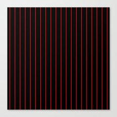 Classic Baseball Pattern Thin Red Stripes on Black Canvas Print
