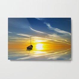 Lonely Sail boat digital painting Metal Print