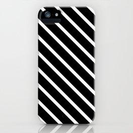 Black & White Diagonal Stripes iPhone Case