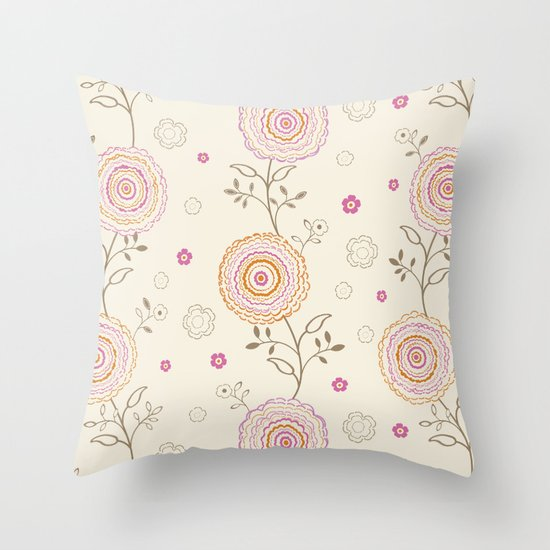 Folky Flowers Throw Pillow