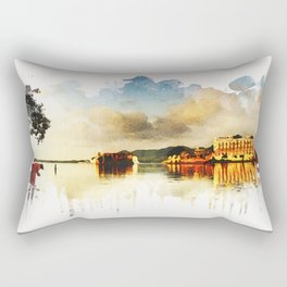 Indian watercolor impression with lat and palace in Udaipur, Rajasthan Rectangular Pillow