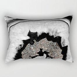 Gray Black White Agate with Silver Glitter #1 #gem #decor #art #society6 Rectangular Pillow