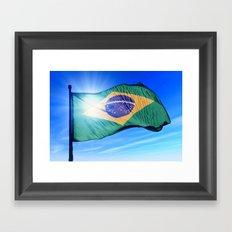 Brazil flag waving on the wind Framed Art Print