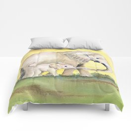 Colorful Mom and Baby Elephant 2 Comforters