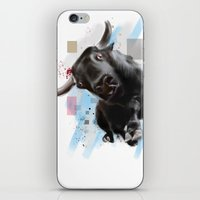 bull iPhone & iPod Skins featuring bull by e12art