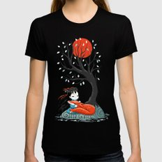 Girl and a Fox 2 MEDIUM Black Womens Fitted Tee
