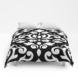 Scroll Damask Large Pattern White on Black Comforters