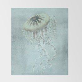 Jellyfish Underwater Aqua Turquoise Art Throw Blanket