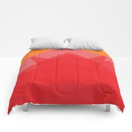 Colorful Red Abstract Mountain Comforters