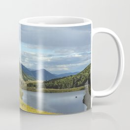 View of Meridian Lake and Mount Crested Butte above the Colorado city of Crested Butte on the high d Coffee Mug