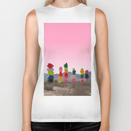 Seven Magic Mountains with Pink Sky - Las Vegas Biker Tank