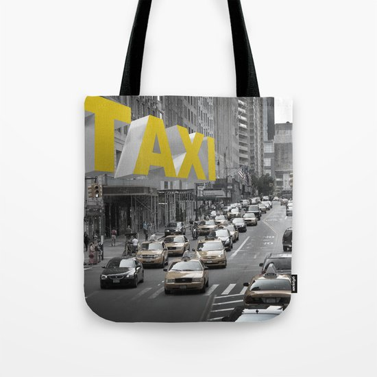 New York Taxi in the air Tote Bag