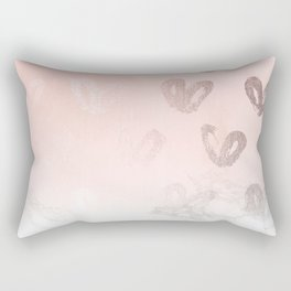 Rose Gold Hearts Marble Gradient Rectangular Pillow