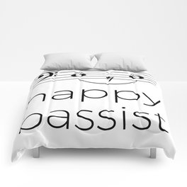 Happy bassist (light colors) Comforters
