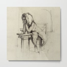 'The Unwinding' Charcoal Drawing Nude woman drinking Wine Metal Print