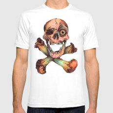 Skull in Color Mens Fitted Tee MEDIUM White