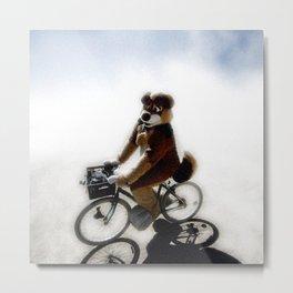 Biking Bear Metal Print
