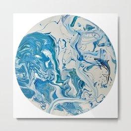 Blue Dolphin Planet Metal Print