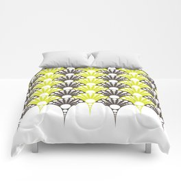brown and lime art deco inspired fan pattern Comforters