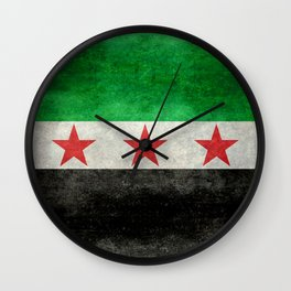 Independence flag of Syria, vintage retro style Wall Clock