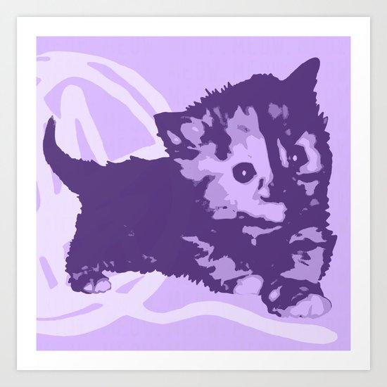 Here Kitty, Kitty - Pastel Purple  Art Print