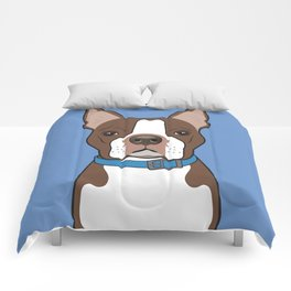 Brown Boston Terrier Art Poster Dog Icon Series by Artist A.Ramos. Designed in Bold Colors Comforters